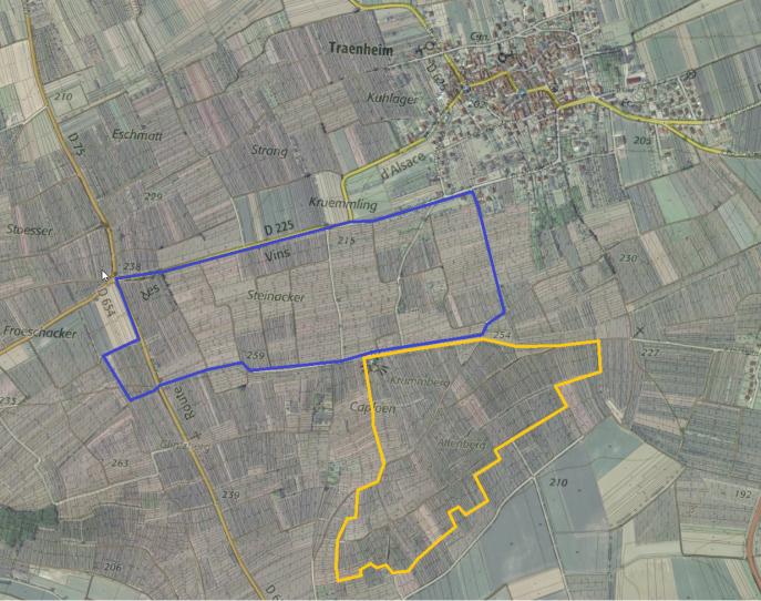 Le terroir de Traenheim (en bleu) et l'Altenberg de Bergbieten (en jaune)